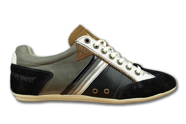 Le-Coq-Sportif-Lormont-Low-Schwarz-Grau-Weiss-Neu-Groessen-waehlbar-Leder-Schuhe