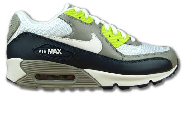 Nike Air Max 90 GrauWeissAnthrazitNeongrün Glattleder Neu