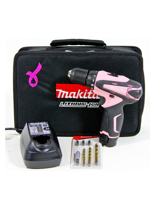 makita df330 akkuschrauber akkubohrer 1 3 ah li ion 10 8v pink 7 tlg bit set ebay. Black Bedroom Furniture Sets. Home Design Ideas