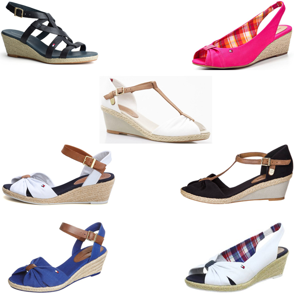 sandals tommy hilfiger elsa wedge heel espadrilles various colours new ebay. Black Bedroom Furniture Sets. Home Design Ideas